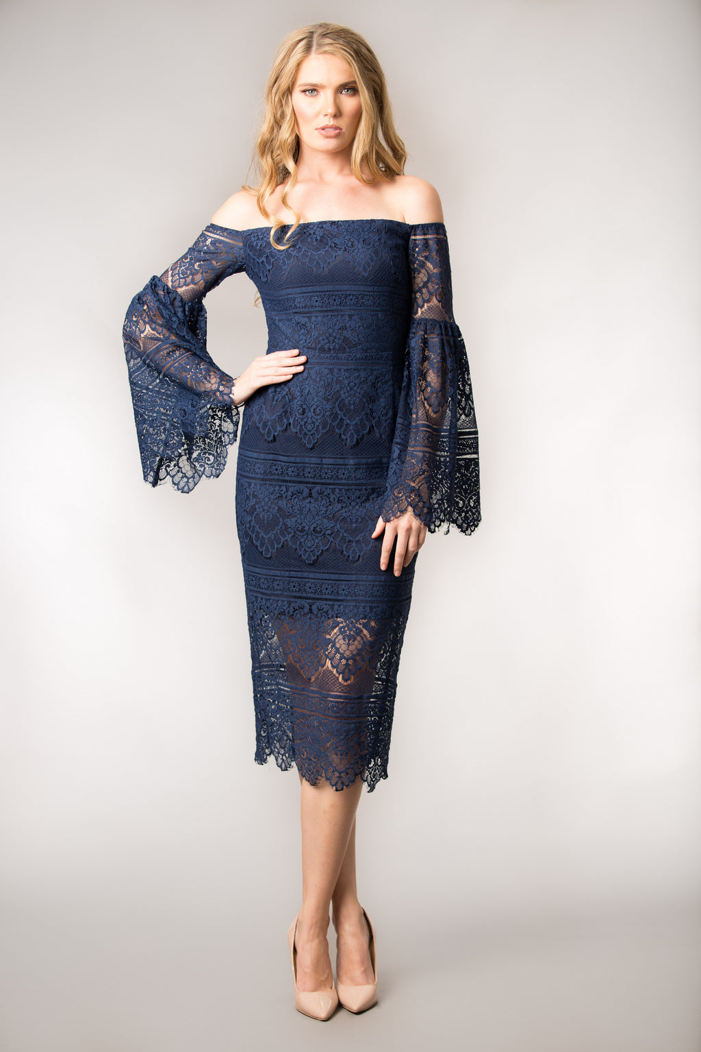 Belle Navy Lace Dress