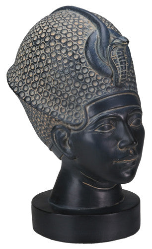 Dark Stone Bust of Tut Statue