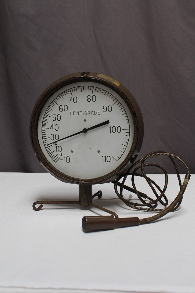 Large Dial Brass Thermometer Item