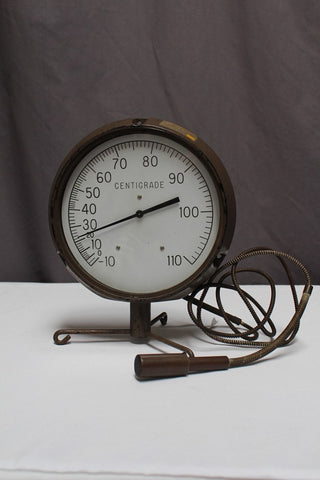 Large Dial Brass Thermometer Rental