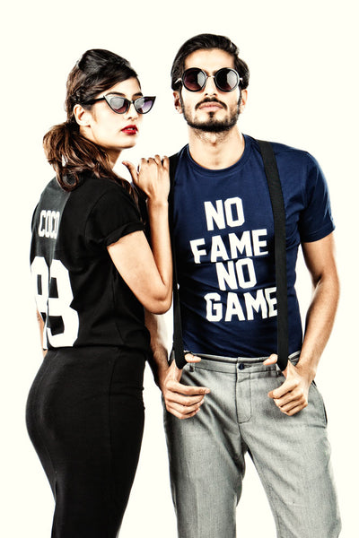 No Fame No Game Navy Blue T-Shirt - Mens