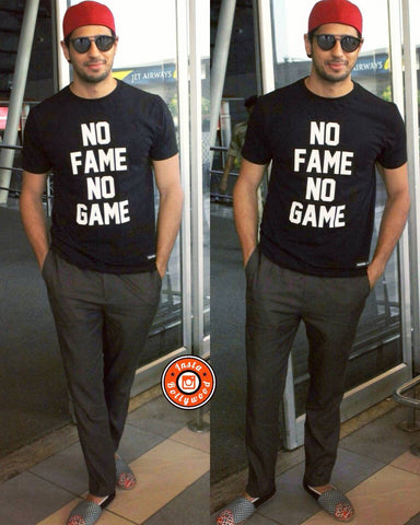 Sidharth Malhotra caught in Fighting Fame No Fame No Game, ready for a flight to Bangalore - styled by Akshay Tyagi.