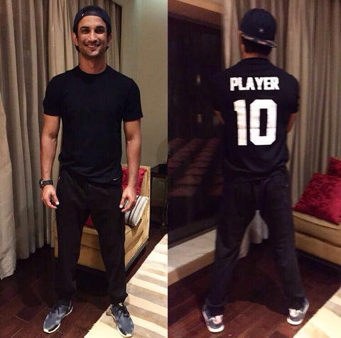 Sushant Singh Rajput; MS Dhoni 7 on screen, #1 Player in life, puts on Fighting Fame Player 10 for the Kapoor And Sons screening - styled by Archana Walavalkar and Rebecca Anderson.