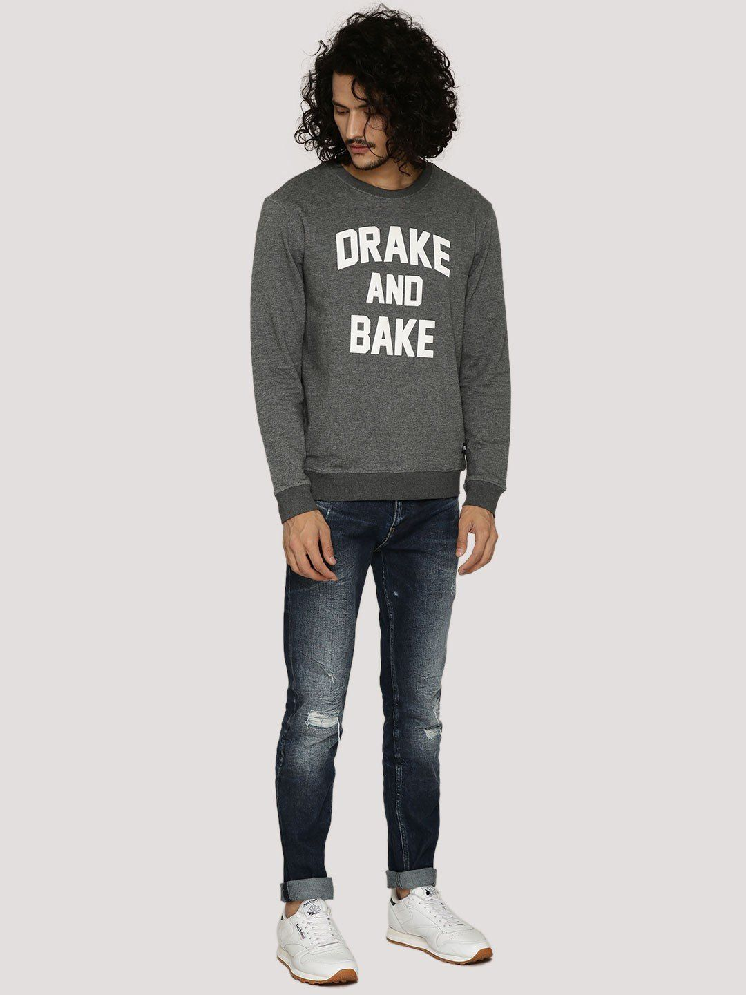 DRAKE AND BAKE Grey Melange Sweatshirt - Fighting Fame  - 5
