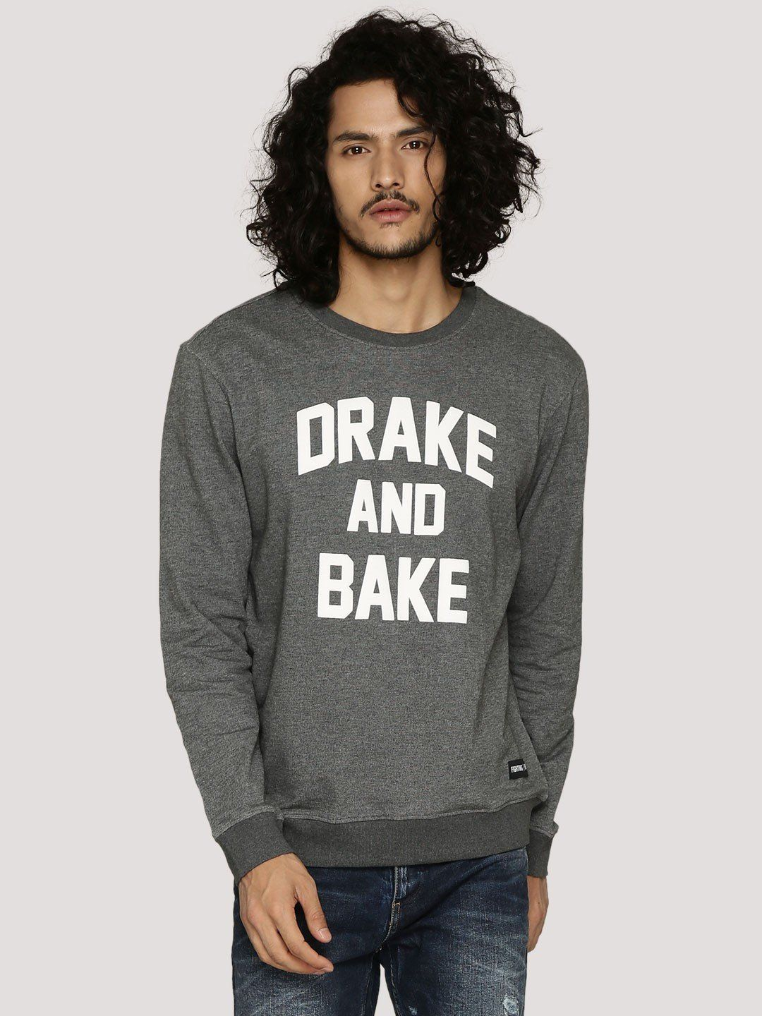 DRAKE AND BAKE Grey Melange Sweatshirt - Fighting Fame  - 1