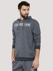 Fighting Fame Blue Melange Print Popover Hoodie - Fighting Fame  - 1
