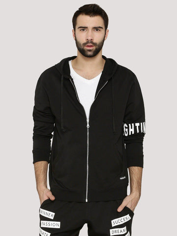 Fighting Fame Sleeve Print Solid Black Hoodie