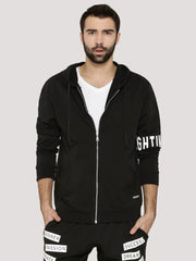 Fighting Fame Sleeve Print Solid Black Hoodie - Fighting Fame  - 1