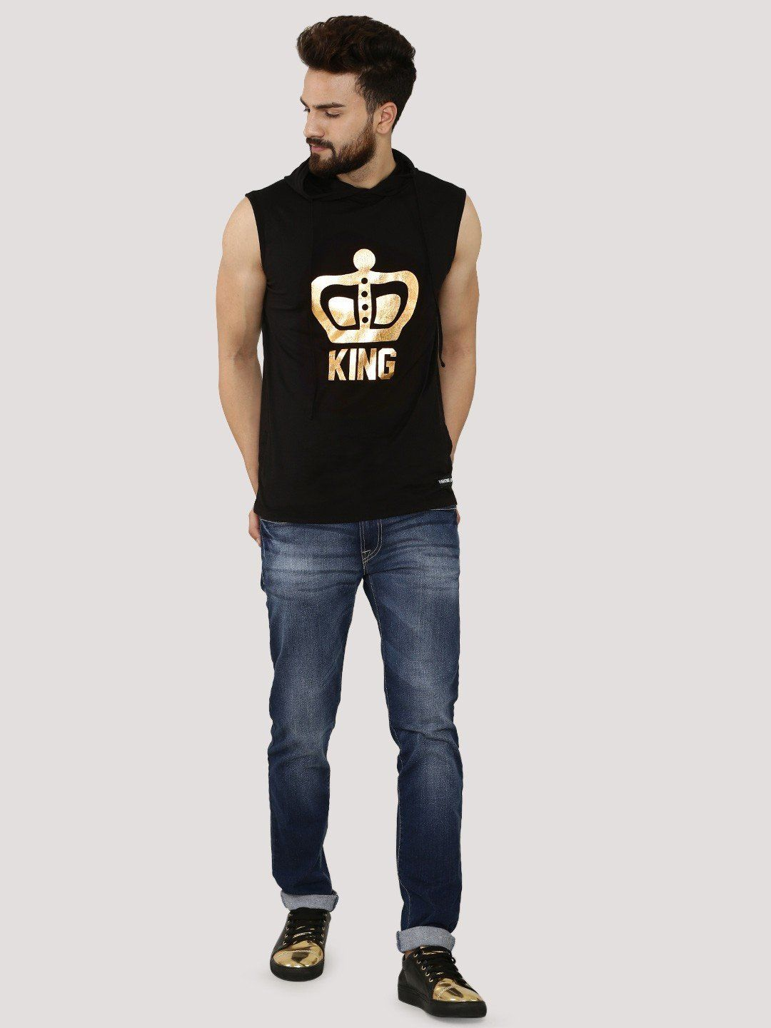 KING Black Sleeveless T-Shirt With Hood - Fighting Fame  - 4