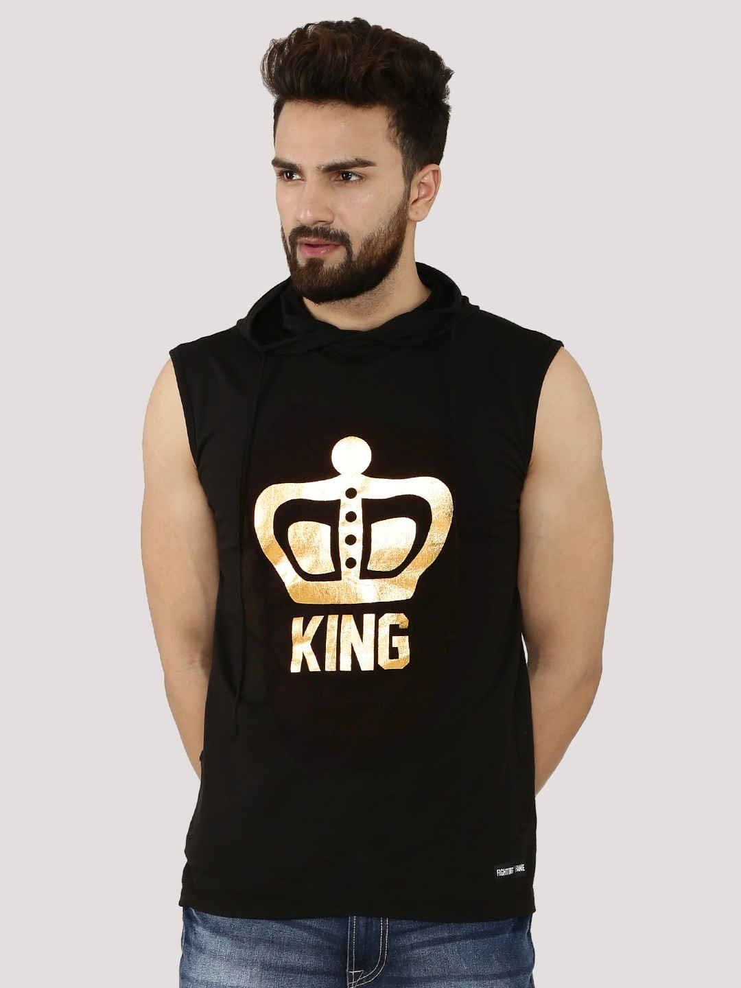 KING Black Sleeveless T-Shirt With Hood - Fighting Fame  - 1