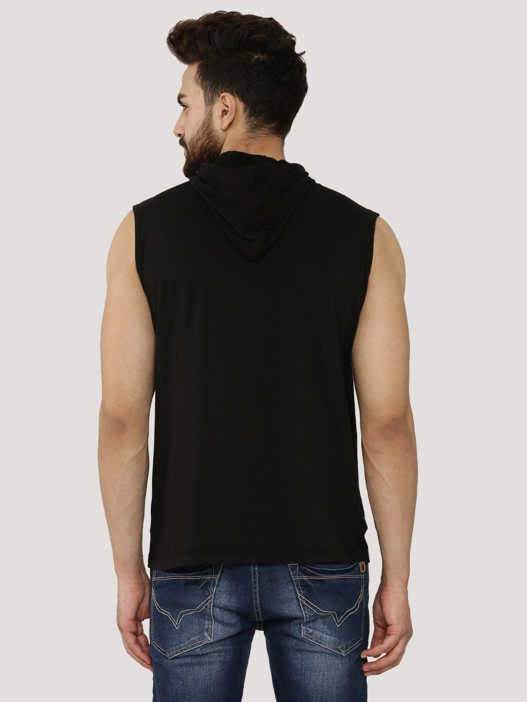KING Black Sleeveless T-Shirt With Hood - Fighting Fame  - 2