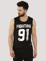 Fighting Fame 91 Silver Foil Printed Vest - Fighting Fame  - 2