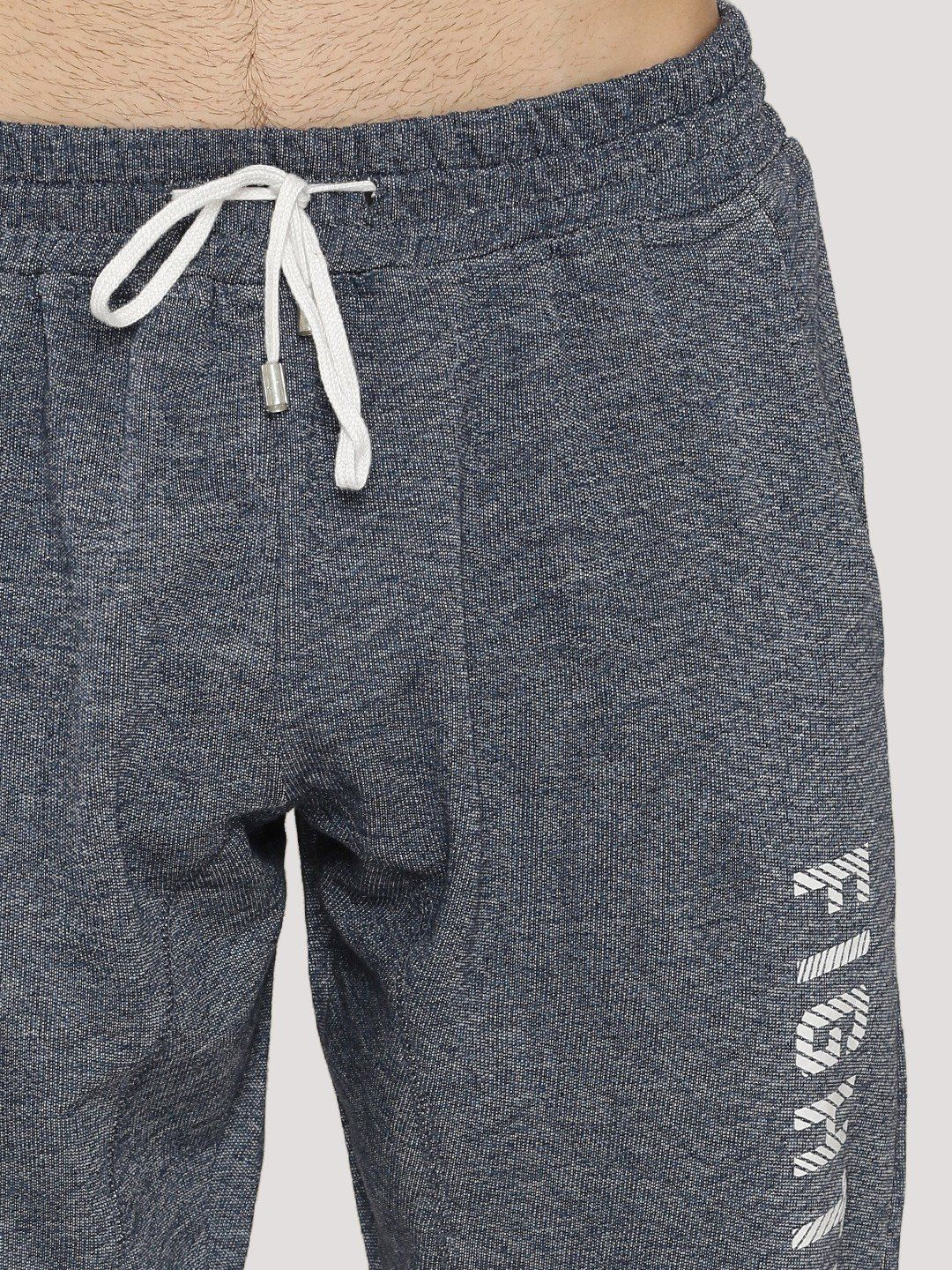 Fighting Fame Print Blue Melange Joggers - Fighting Fame  - 5