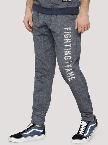 Fighting Fame Print Blue Melange Joggers