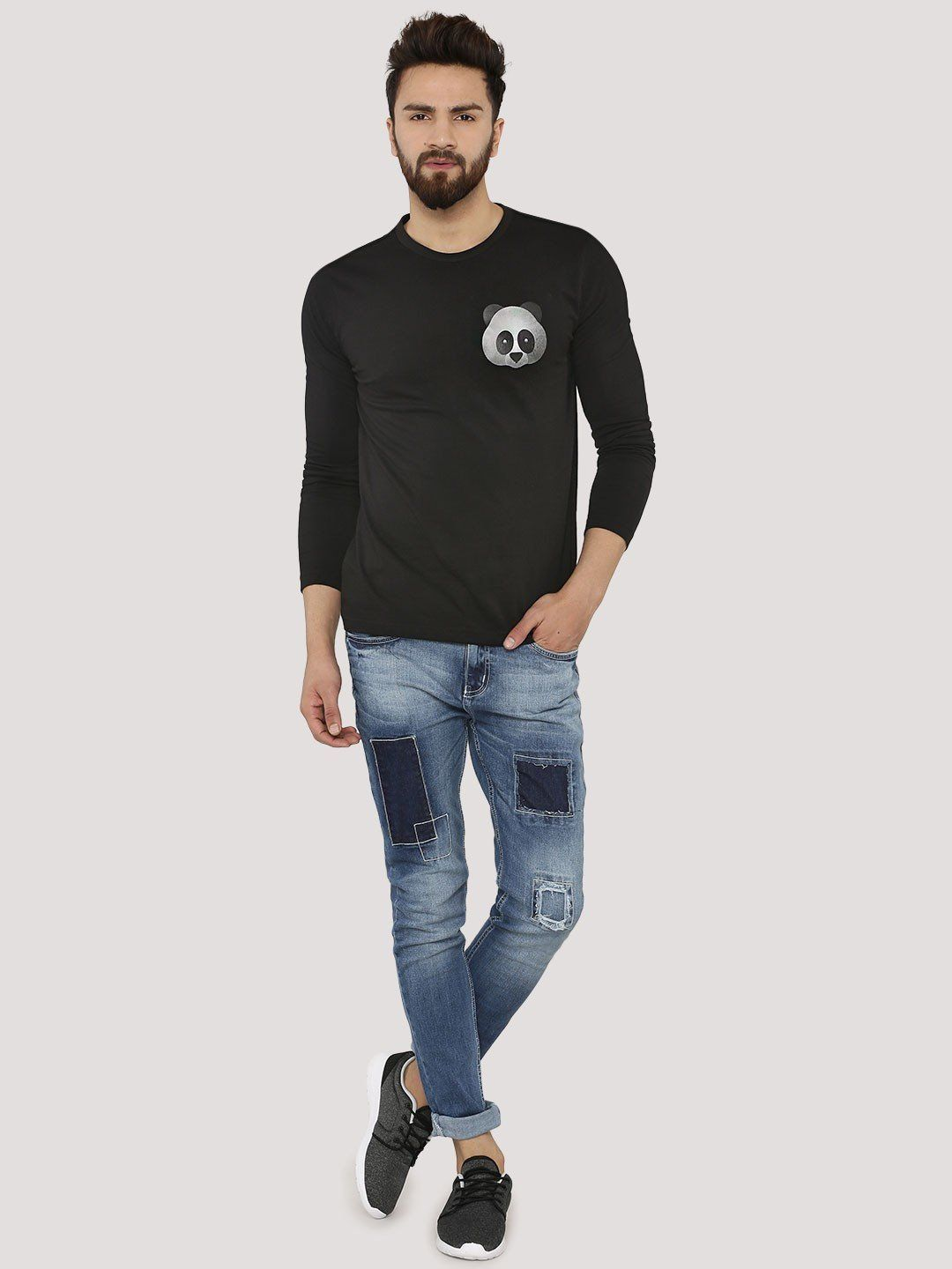 PANDA Long Sleeve Black T-Shirt - Fighting Fame  - 3