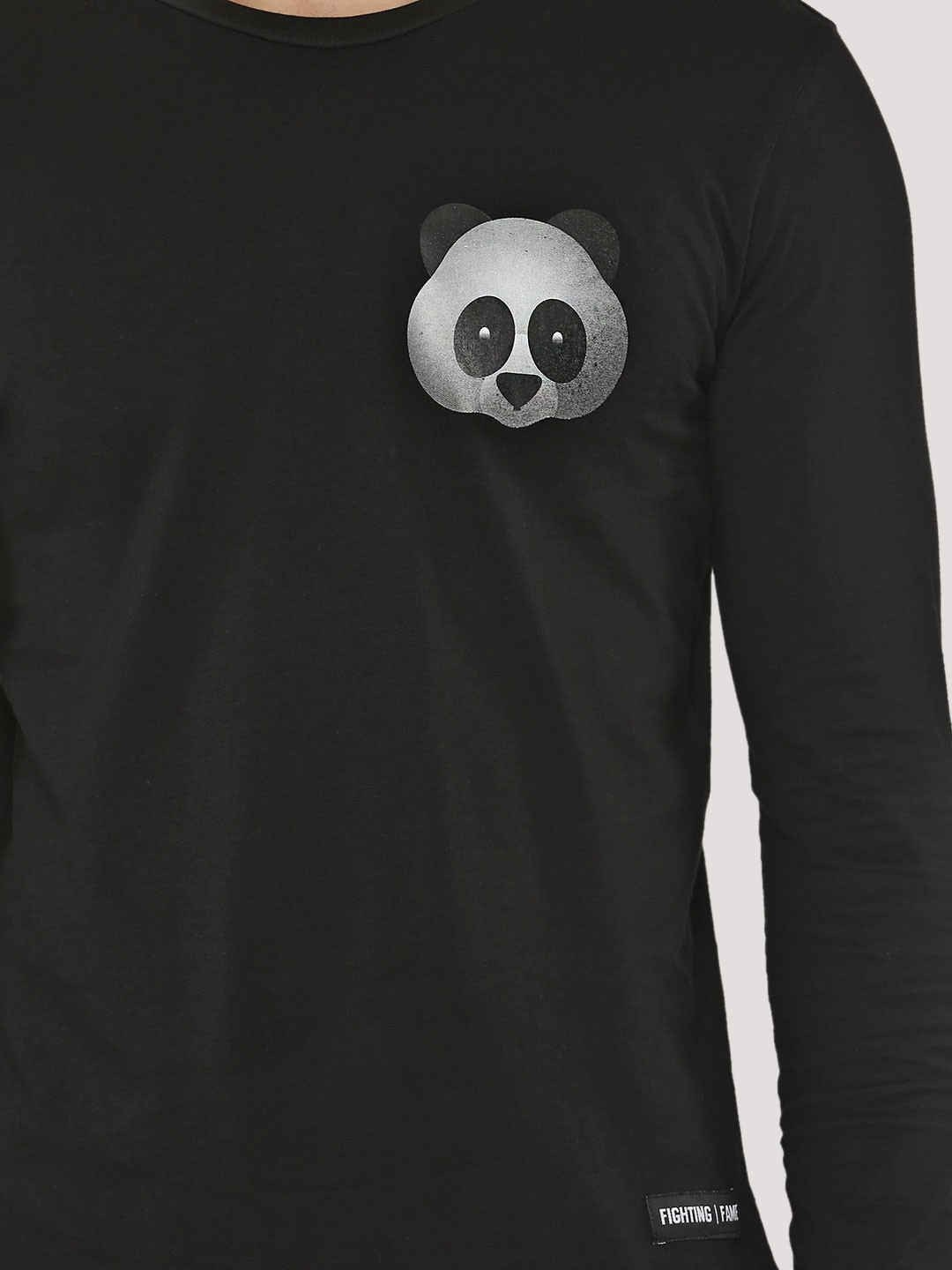 PANDA Long Sleeve Black T-Shirt - Fighting Fame  - 2