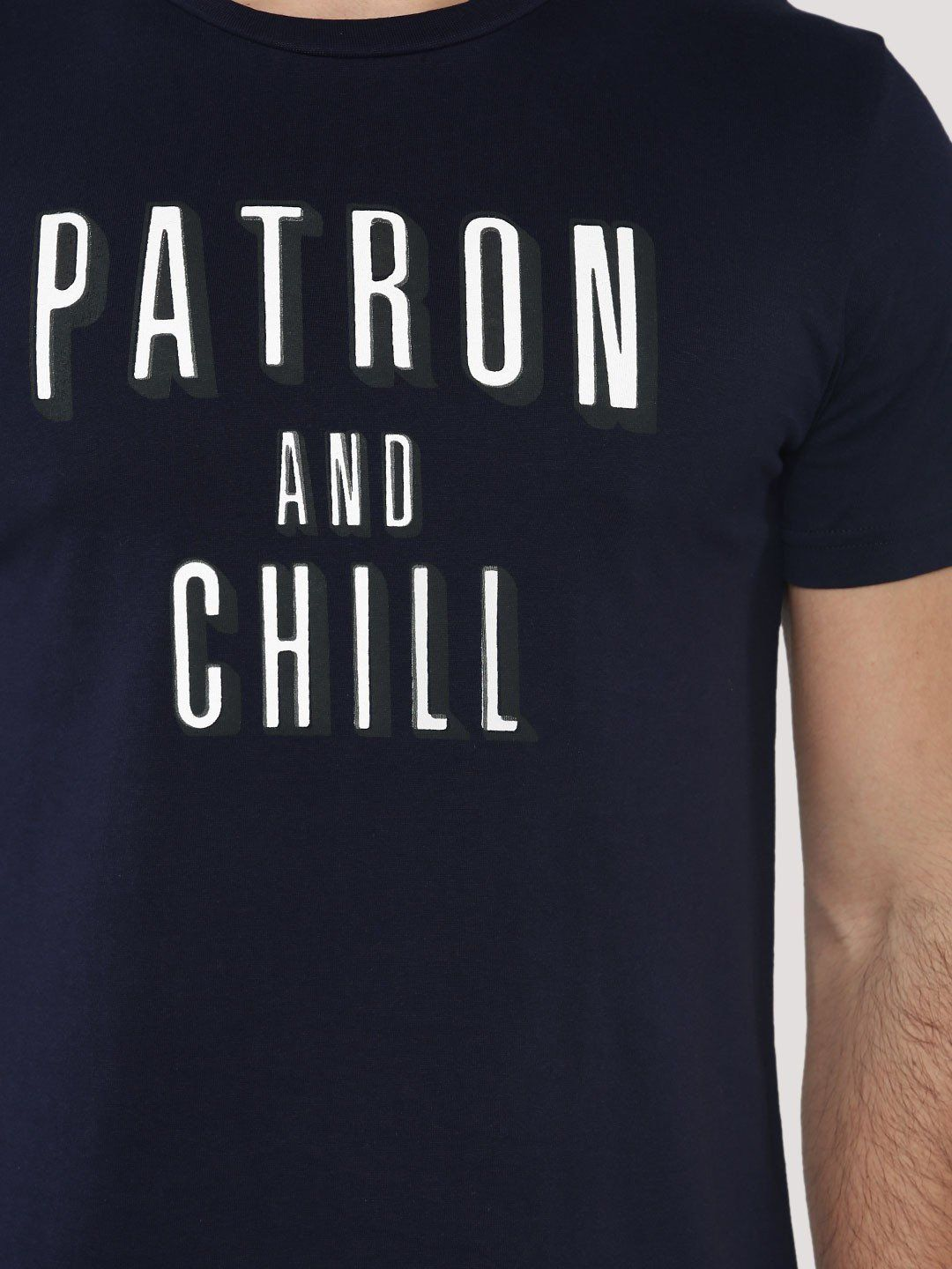 Patron And Chill Navy Blue T-Shirt - Fighting Fame  - 3