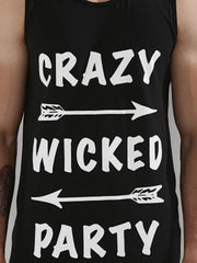 Crazy Wicked Party Black Longline Vest With Side Zippers