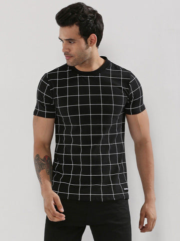 Windowpane Checks Black All Over T-Shirt