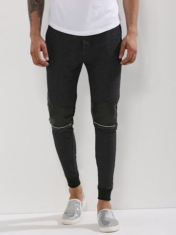 Biker Joggers With PU Patch And Knee Zippers