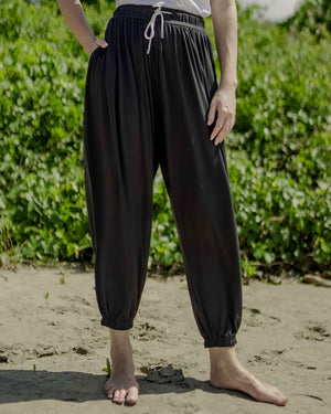 Solid Black Unisex Aaram Pants