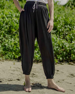 Solid Black Unisex Aaram Pants With Blue Side Tape