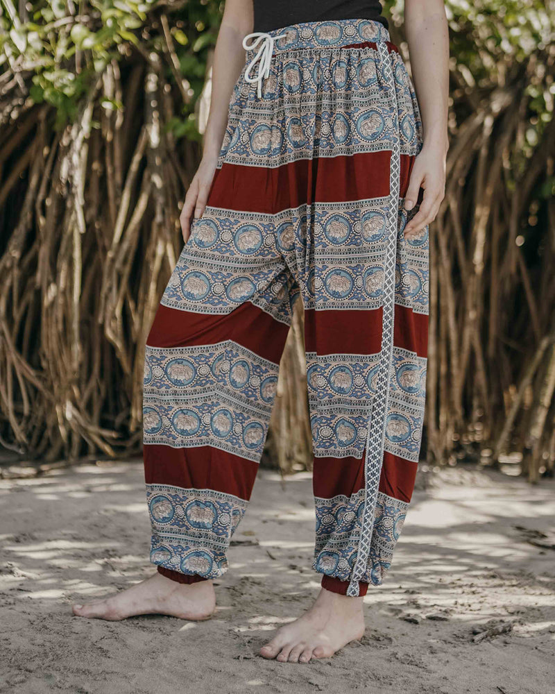 Maroon And Blue Paisley Unisex Aaram Pants