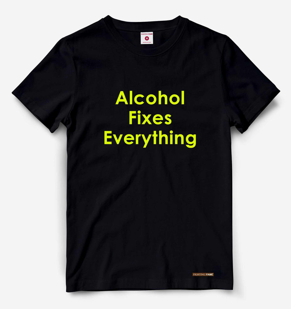 Alcohol Fixes Everything Neon Green Print Black Tee