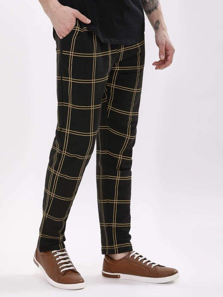 Black And Gold Windowpane Check Joggers