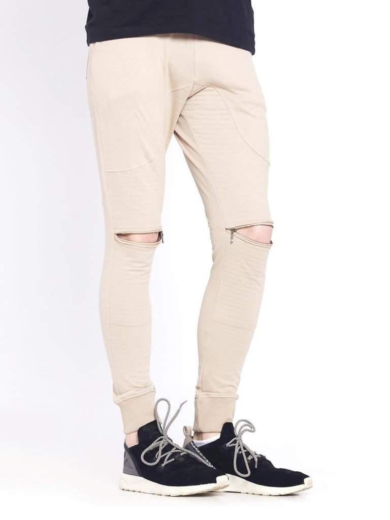 Cobblestone Biker Joggers with Zippers