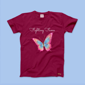 Fighting Fame Butterfly Maroon Tee
