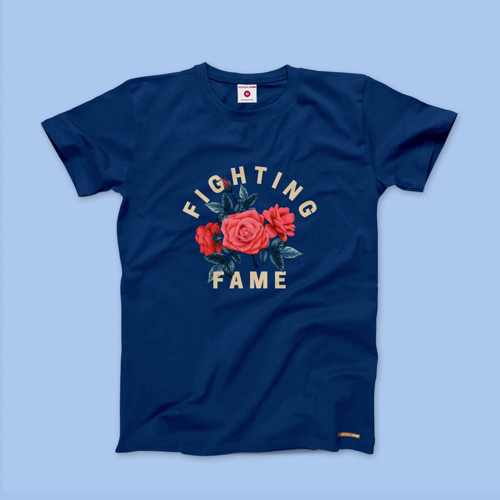 Fighting Fame Roses Navy Tee