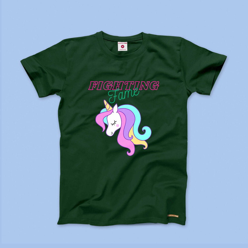 Fighting Fame Unicorn Free Love Olive Tee