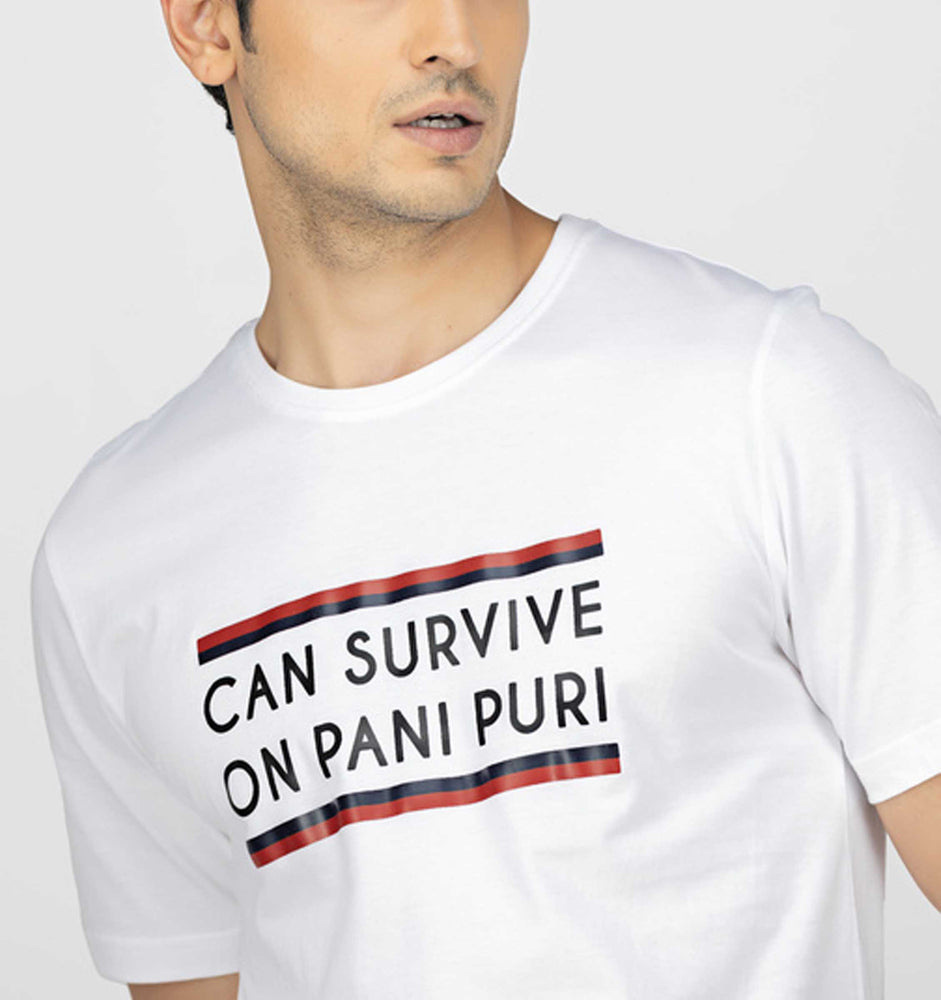 Can Survive On Pani Puri White Tee