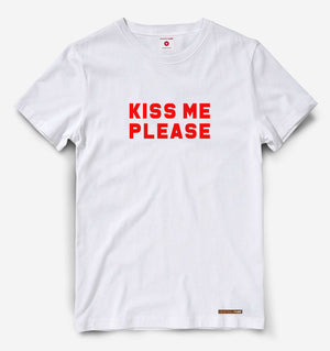 Kiss Me Please White Tee