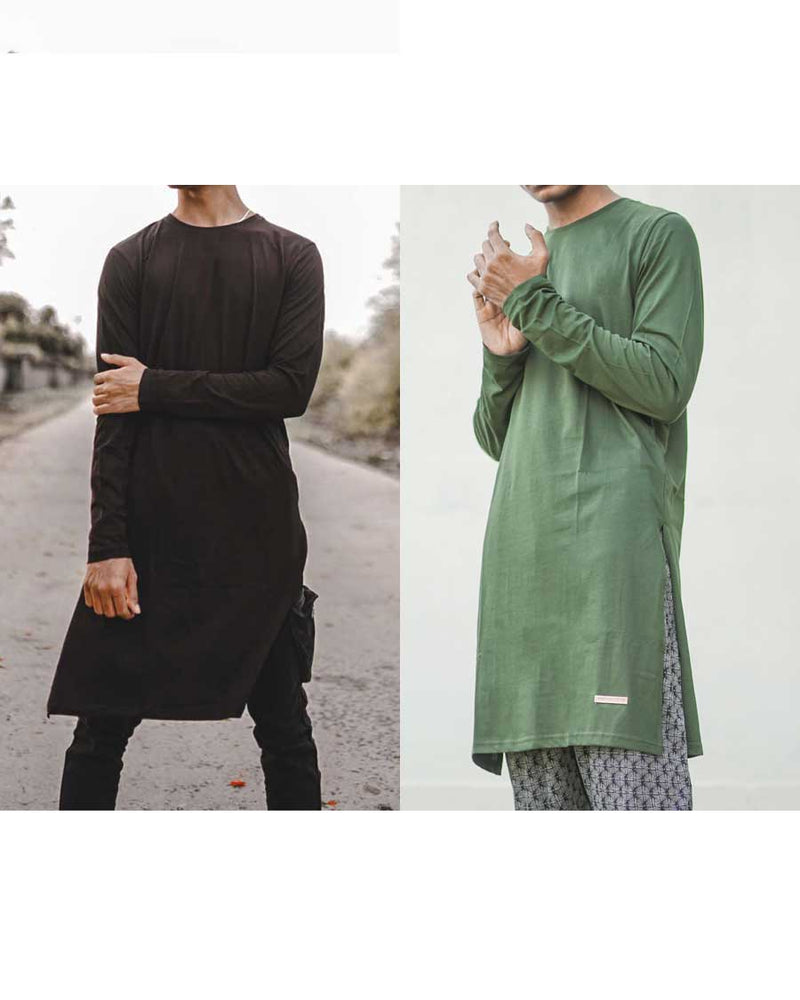 Fighting Fame Kurta Black Olive Pack of 2