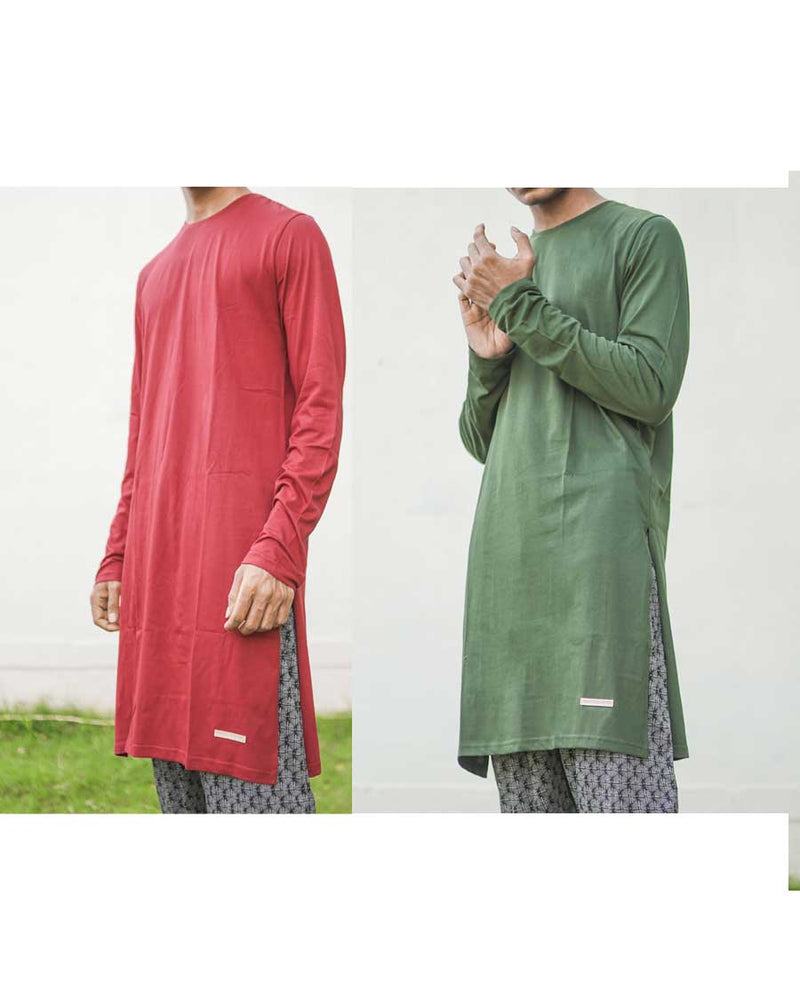 Fighting Fame Kurta Olive Maroon Pack of 2