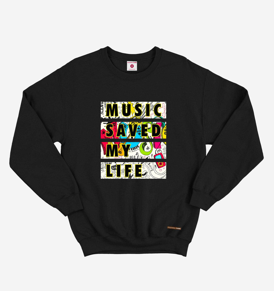 Music Saved My Life Black Long Sleeve Tee