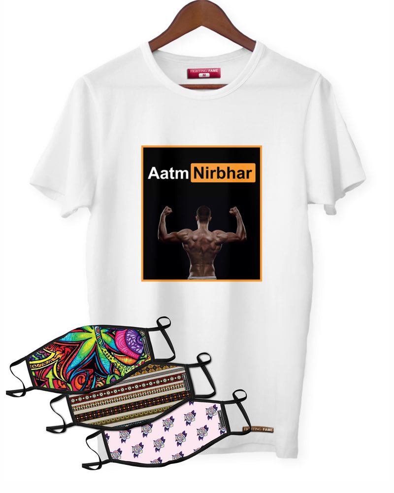 Fighting Fame Quarantine Aatmnirbhar T-Shirt +  3 Mixed Masks Combo