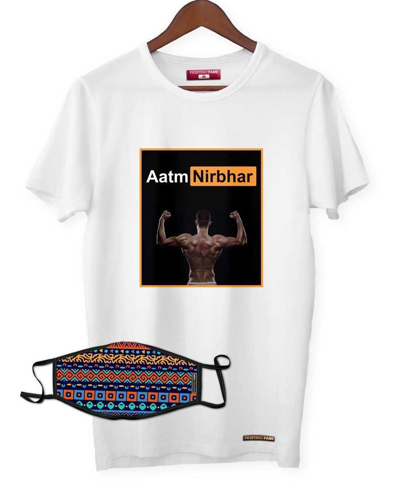 Fighting Fame Quarantine Aatmnirbhar T-Shirt + Vintage Boho Stripe Mask Combo