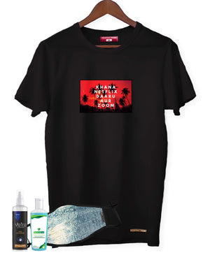 Fighting Fame Quarantine Everyday Life T-Shirt + Denim Print Mask + Surface Disinfectant + Hand Sanitizer 100ml Combo