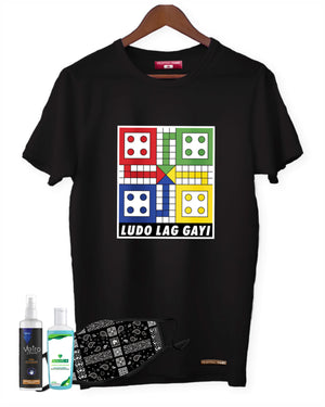 Fighting Fame Quarantine Ludo T-Shirt + Ornate Paisley Mask + Surface Disinfectant + Hand Sanitizer 100ml Combo