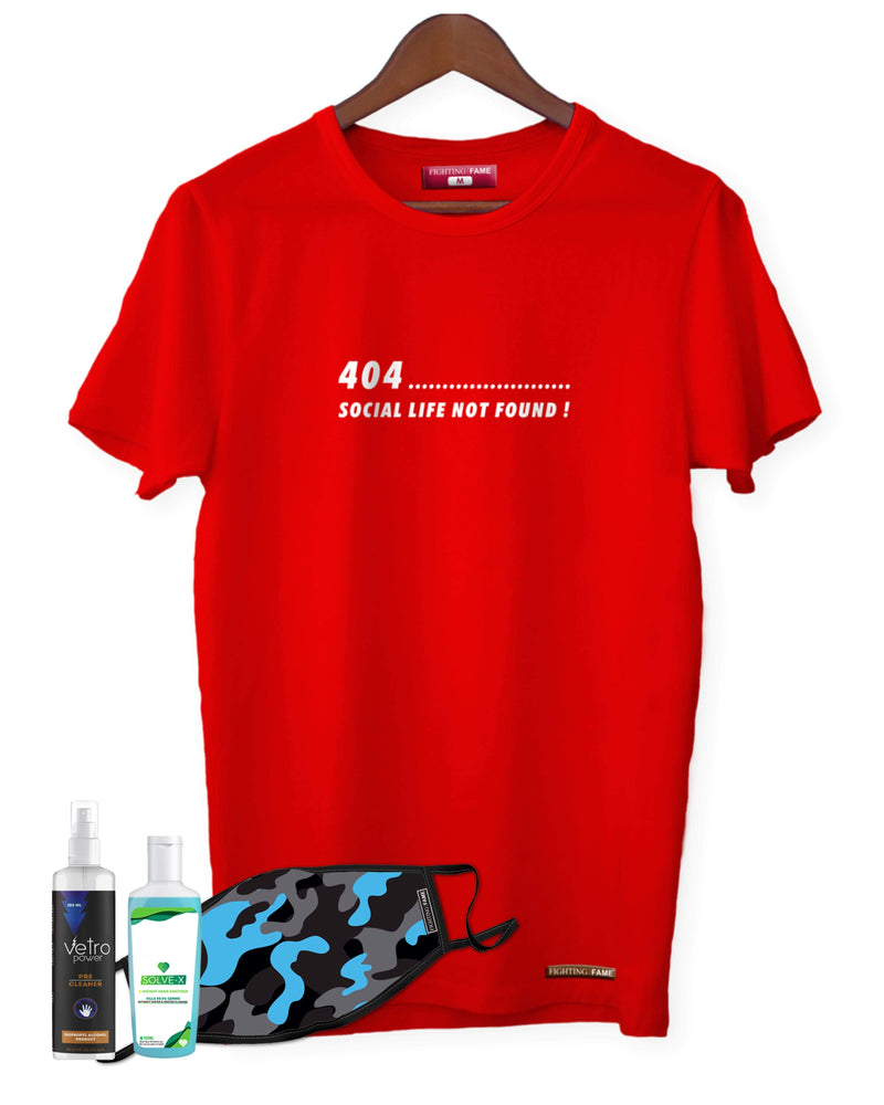 Fighting Fame Quarantine Social Life T-Shirt + Blue Camo Mask + Surface Disinfectant + Hand Sanitizer 100ml Combo