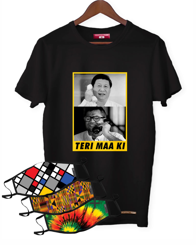 Fighting Fame Quarantine Teri Maa Ki T-Shirt + 3 Mixed Masks Combo