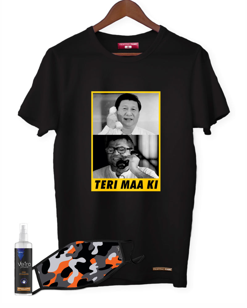 Fighting Fame Quarantine Teri Maa Ki T-Shirt + Orange Camo Mask + Surface Disinfectant 250ml Combo