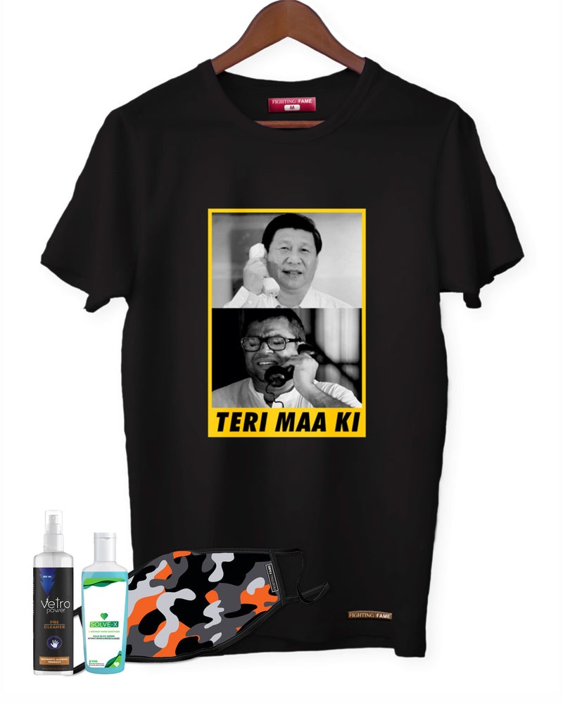 Fighting Fame Quarantine Teri Maa Ki T-Shirt + Orange Camo Mask + Surface Disinfectant 250ml + Hand Sanitizer 100ml Combo