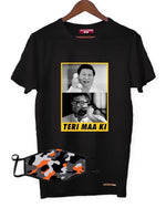 Fighting Fame Quarantine Teri Maa Ki T-Shirt + Orange Camo Mask Combo