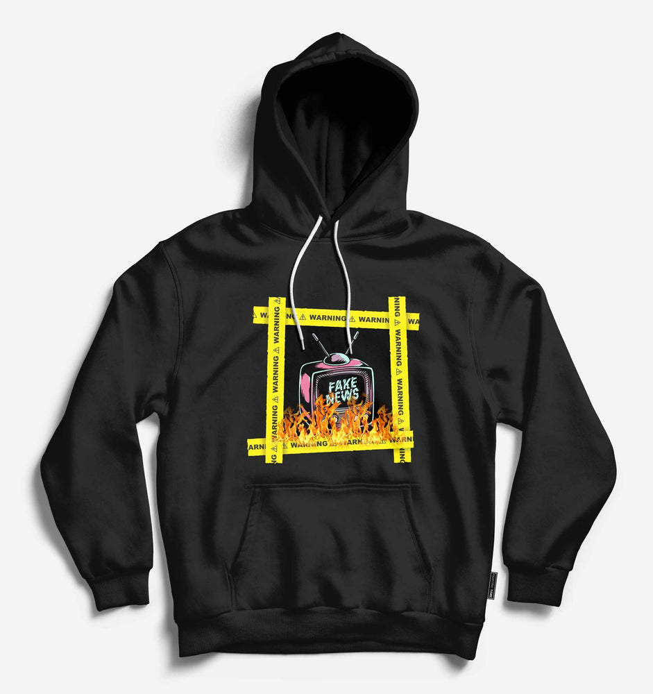 Fighting Fame Warning Fake News Black Hoodie