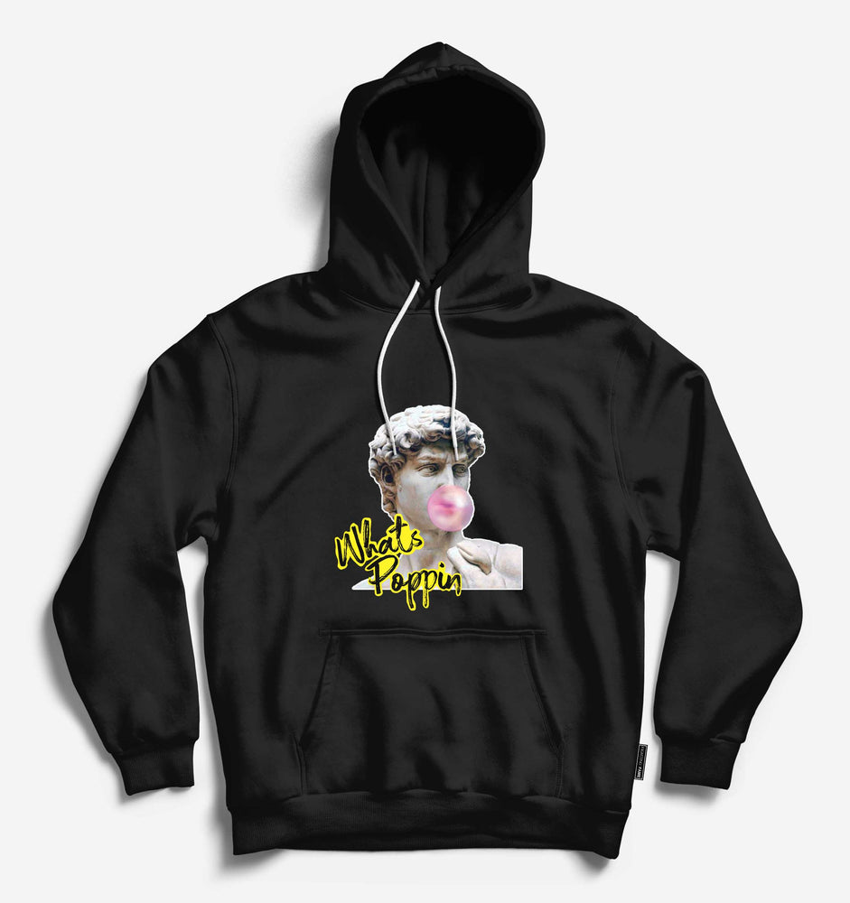 What's Poppin' Unisex Black Long Sleeve Tee With Hood