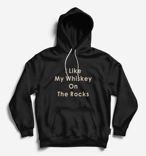 On The Rocks Unisex Black Long Sleeve Tee With Hood